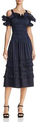 Rebecca Taylor Smocked Cold-Shoulder Dress