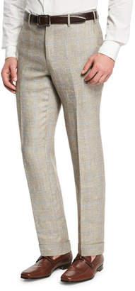 Zanella Windowpane Linen-Wool Flat-Front Trousers, Brown/Ivory/Blue