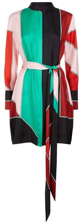 Colour-Block Silk Shirt Dress