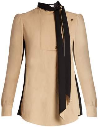 Tie-neck side-striped blouse
