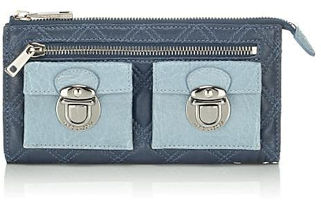 Marc Jacobs Collection Bi-Color Quilted Zip Clutch, Blue