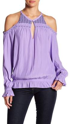 Ramy Brook Harper Embroidered Smocked Cold Shoulder Blouse