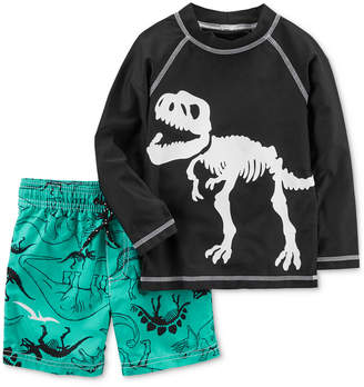 Carter's 2-Pc. Dino-Print Rash Guard Set, Little Boys & Big Boys
