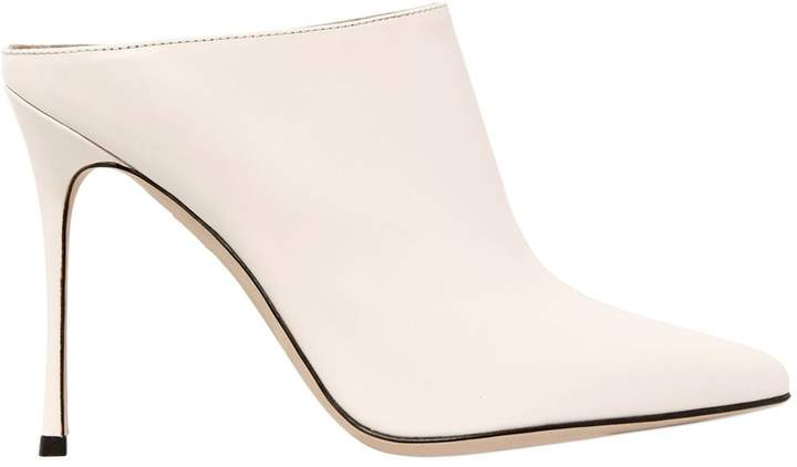105mm Brushed Leather Mules