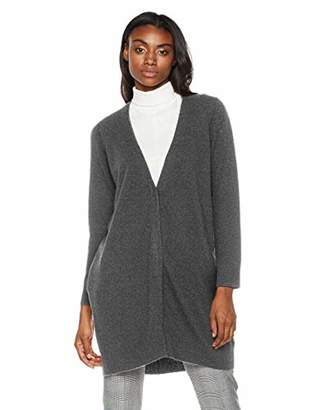 Peplum Pointe Womens V-Neck Chunky Warm Cardigan Open Front Cashmere Wool Sweater with Pockets