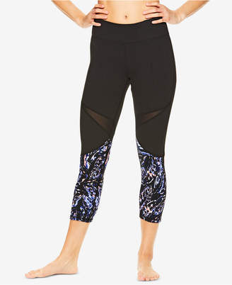 Gaiam Ryan Printed Mesh-Trimmed Capri Leggings