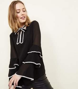 Yumi Black Lace Trim Tie Neck Blouse