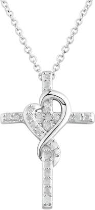 Two Hearts Forever One 1/4 Carat T.W. Diamond Sterling Silver Heart Cross Pendant Necklace