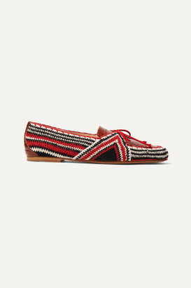Gabriela Hearst Hays Croc-effect Leather And Crocheted Loafers - Brown