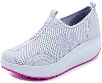 2bf2da801cda Orlancy Women s Mesh Wedge Sports Shoes Slip On Lightweight Fitness Walking  Sneakers Size US4-11