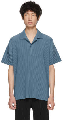 Issey Miyake Homme Plisse Blue June Pleated Polo