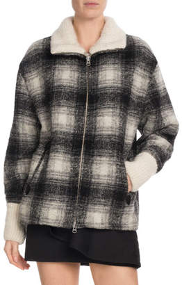 Etoile Isabel Marant Gimo Plaid Wool Zip-Front Coat