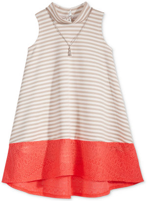 Bonnie Jean Mock Neck Dress with Attached Necklace, Little Girls (2-6X) $48 thestylecure.com