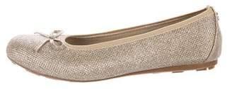 Stuart Weitzman Girls' Glitter Round-Toe Ballet Flats