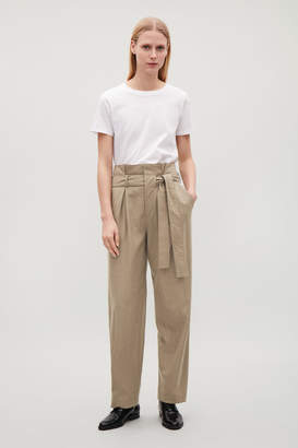 Cos LIGHTWEIGHT BELTED WOOL TROUSERS