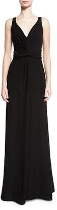 Armani Collezioni Techno Cady V-Neck Sleeveless Gown, Black $1,695 thestylecure.com