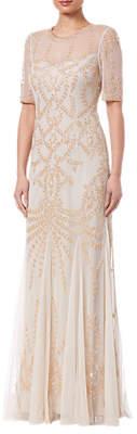 Adrianna Papell Petite Beaded Long Dress, Biscotti