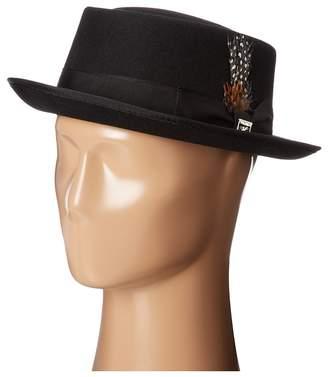 Stacy Adams Pork Pie Wool Felt Hat w/ Grosgrain Band Caps
