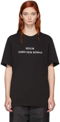 MSGM Black Times New Roman T-Shirt