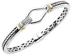 Lord & Taylor Sterling Silver with 14Kt. Yellow Gold Diamond Bracelet