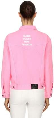 Make Money Not Friends Logo Printed Denim Jacket