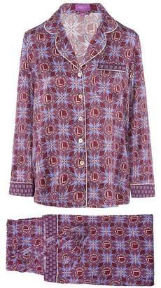 04c517965dc Liberty London Harlequin Iphis Silk Satin Long Pyjama Set