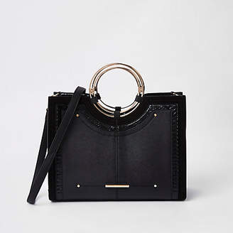 River Island Black metal hoop tote bag