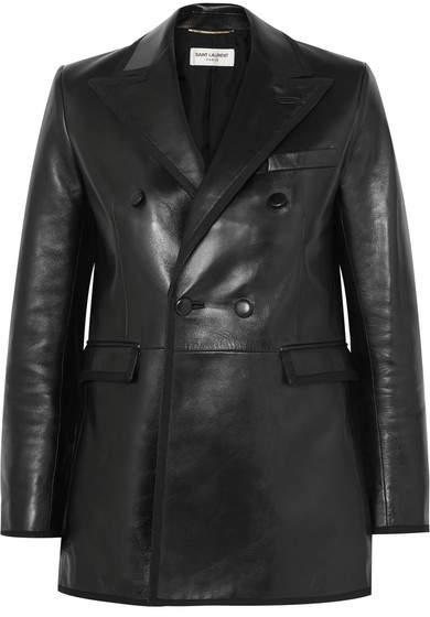 Grosgrain-trimmed Leather Blazer - Black