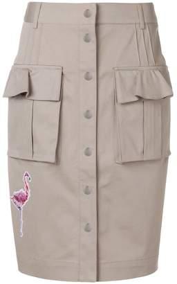 Karl Lagerfeld patch-appliqué button front skirt