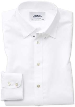 Charles Tyrwhitt Slim Fit Tab Collar Non-Iron Twill White Cotton Dress Shirt Single Cuff Size 18/37