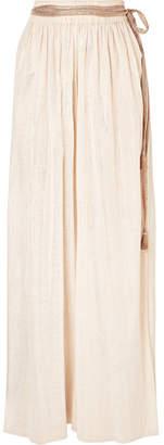 Miguelina Nadira Cotton And Lurex-blend Gauze Wide-leg Pants - Gold