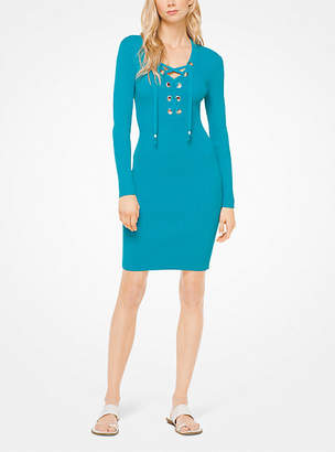 Michael Kors Lace-Up Ribbed Dress