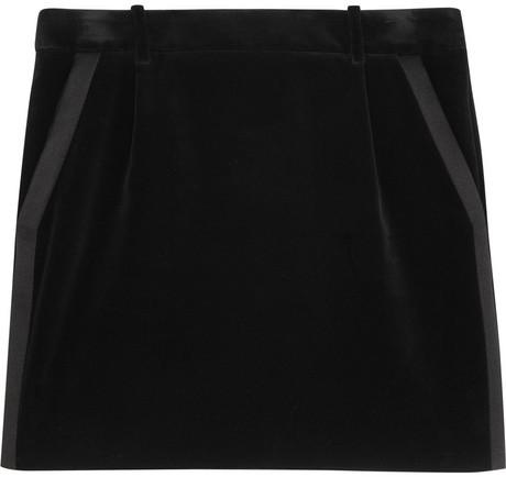 Saint Laurent Velvet tuxedo skirt