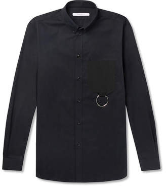 Givenchy Cuban-Fit Button-Down Collar Embellished Cotton-Twill Shirt