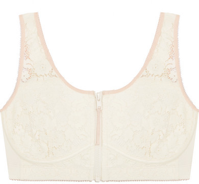 Stella McCartney - Breast Cancer Awareness Louise Listening Cotton-blend Jersey And Lace Soft-cup Bra - Cream