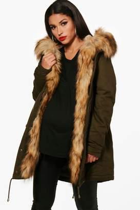 boohoo Maternity Faux Fur Trim Parka