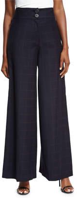 Neiman Marcus Rejina Pyo Beatrice Wide-Leg High-Waist Check Wool Trousers
