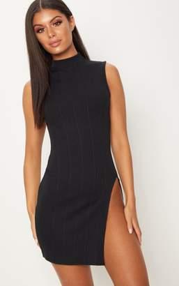 PrettyLittleThing Black Bandage Sleeveless Extreme Split Leg Bodycon Dress