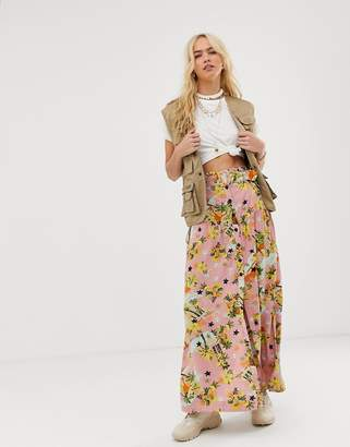Asos Design DESIGN high waist midi skirt with self belt in palm print