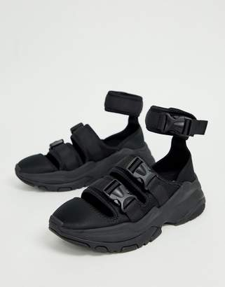 Asos Design DESIGN sneaker sandals in black with chunky sole