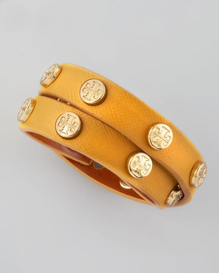 Tory Burch Logo-Studded Saffiano Wrap Bracelet, Golden