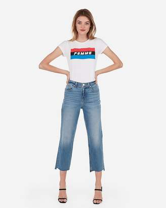 Express Femme Color Block Graphic Slim Tee