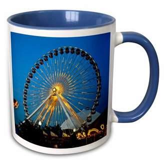 3dRose Illinois, Chicago, Ferris Wheel, Navy Pier - US14 BFR0033 - Bernard Friel - Two Tone Blue Mug, 11-ounce