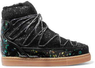 Quentin Glittered Leather, Shearling And Mesh Snow Boots - Black