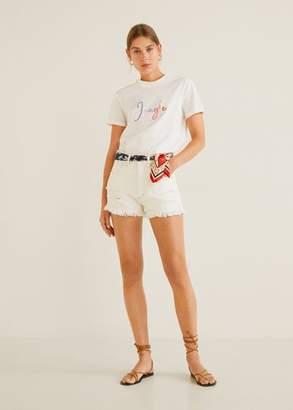 MANGO Embroidered message t-shirt off white - XS - Women