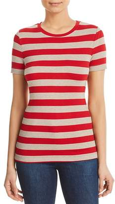 Three Dots Short-Sleeve Striped Knit Top