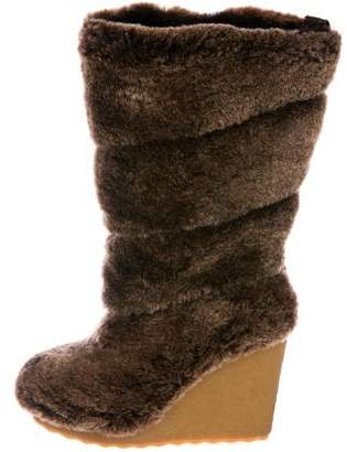 Tory Burch Shearling Wedge Boots