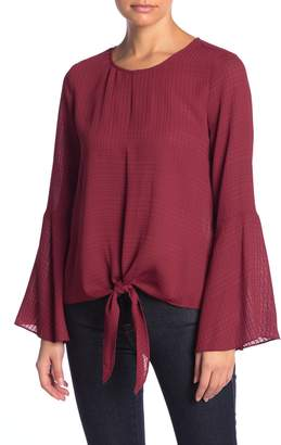 1 STATE 1.State Textured Tie Front Bell Sleeve Blouse