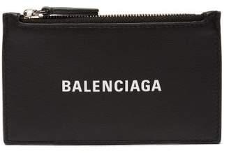 Balenciaga Logo Print Leather Cardholder - Womens - Black