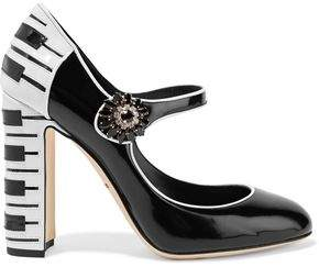 Dolce & Gabbana Vally Embellished Two-Tone Patent-Leather Pumps